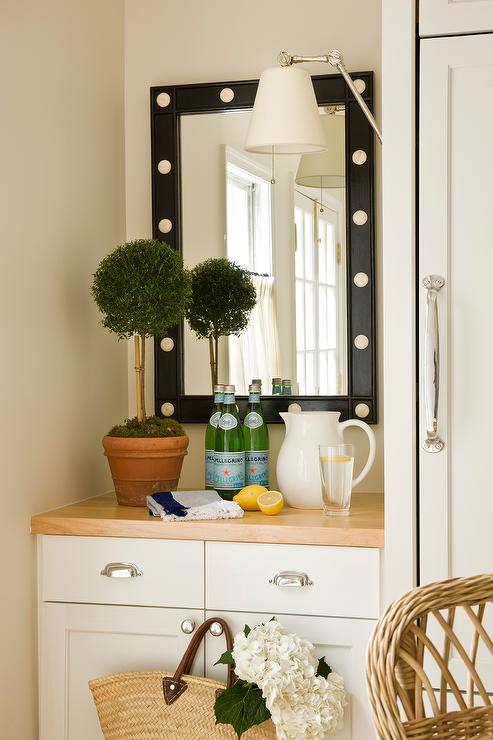 Black Studded Mirror With Built In Buffet Cabinet Cottage