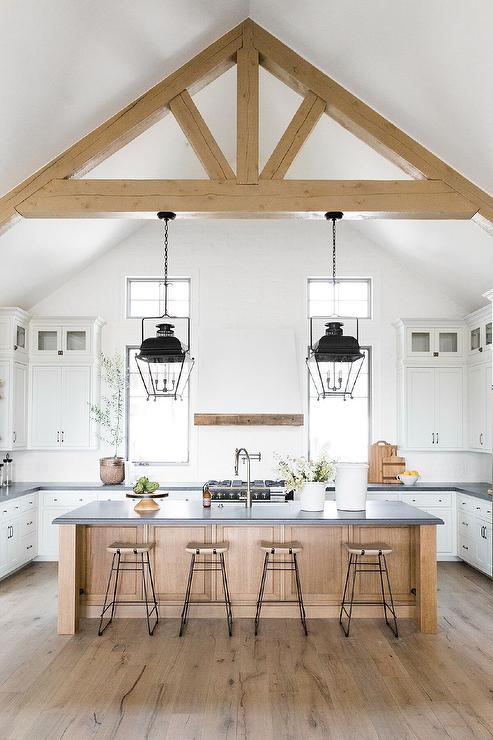 White And Tan Kitchen Design With Vaulted Ceiling