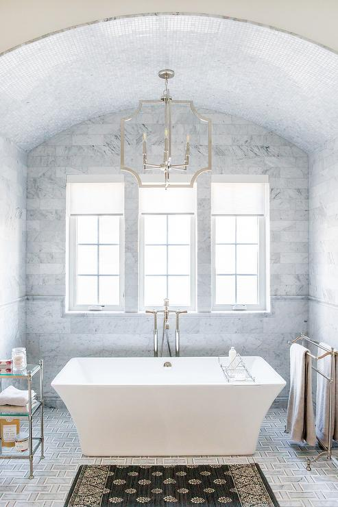 Whitewashed Barrel Ceiling Over Bathtub Cottage Bathroom