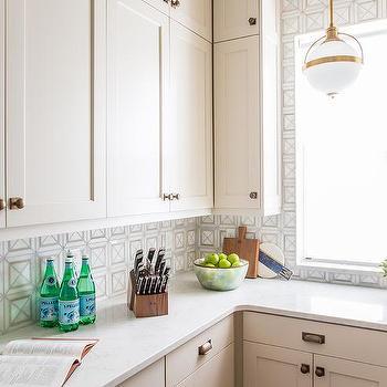 Light Gray Flat Front Kitchen Cabinets Modern Kitchen