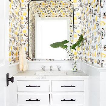 Oyster And Lemon Print Wallpaper Design Ideas
