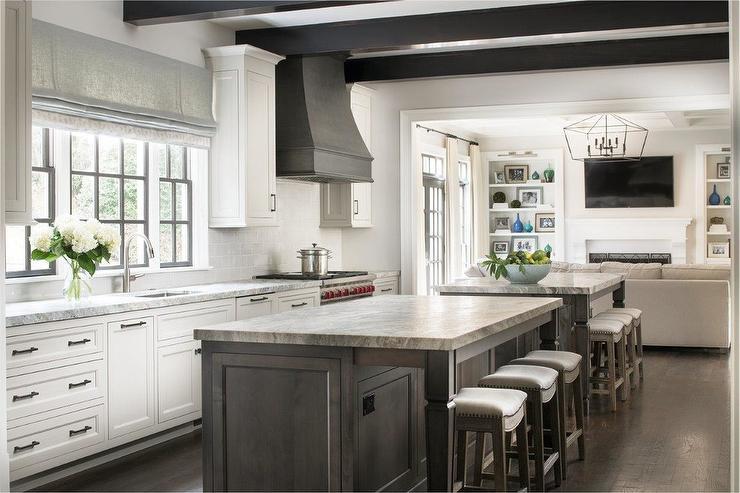 Black And White Roman Shades Kitchen