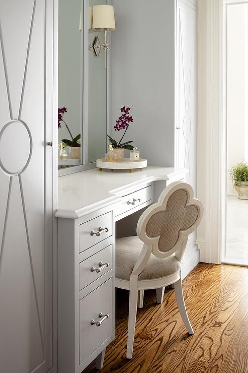 Genial White And Gray Quatrefoil Chair At Gray Makeup Vanity