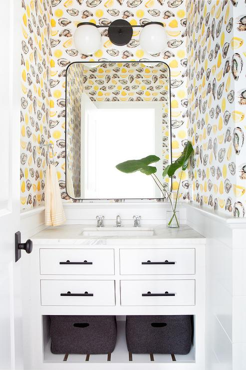 Katie Kime The World Is Your Oyster Wallpaper In Powder Room Transitional Bathroom