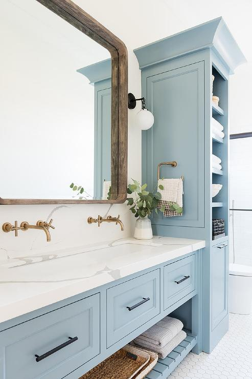 Astonishing Blue Sink Vanity With White Trough Sink Transitional Download Free Architecture Designs Scobabritishbridgeorg