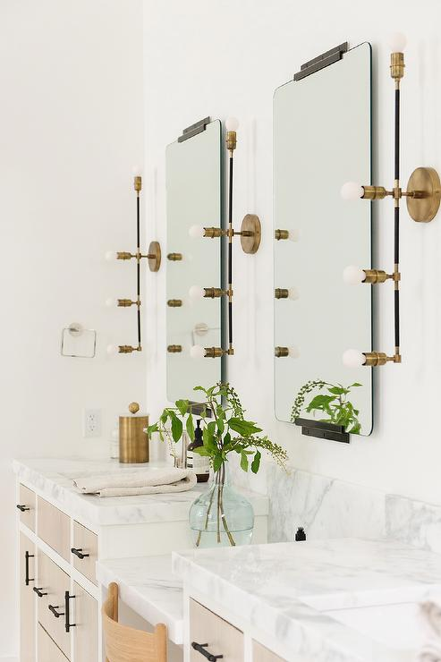 Linear Brass Lights With Vintage Vanity Mirrors Transitional