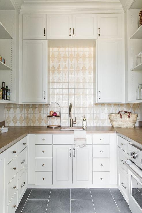 White and Tan Kitchen Pantry with Slate Floor Tiles ...