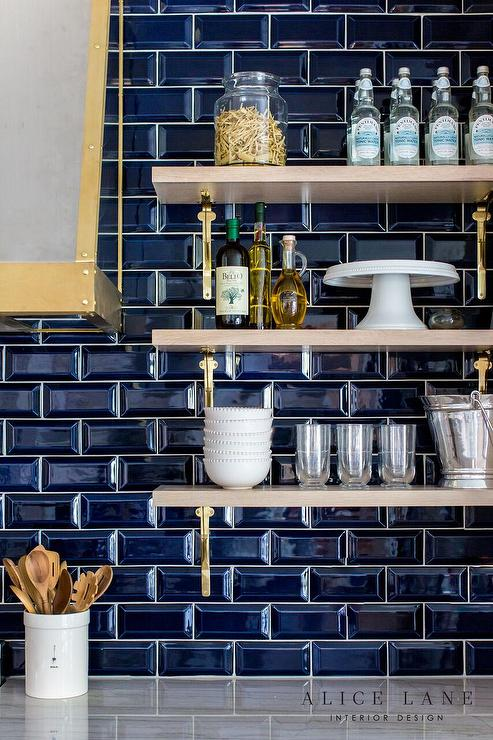 Beveled Subway Tile Backsplash Transitional Kitchen
