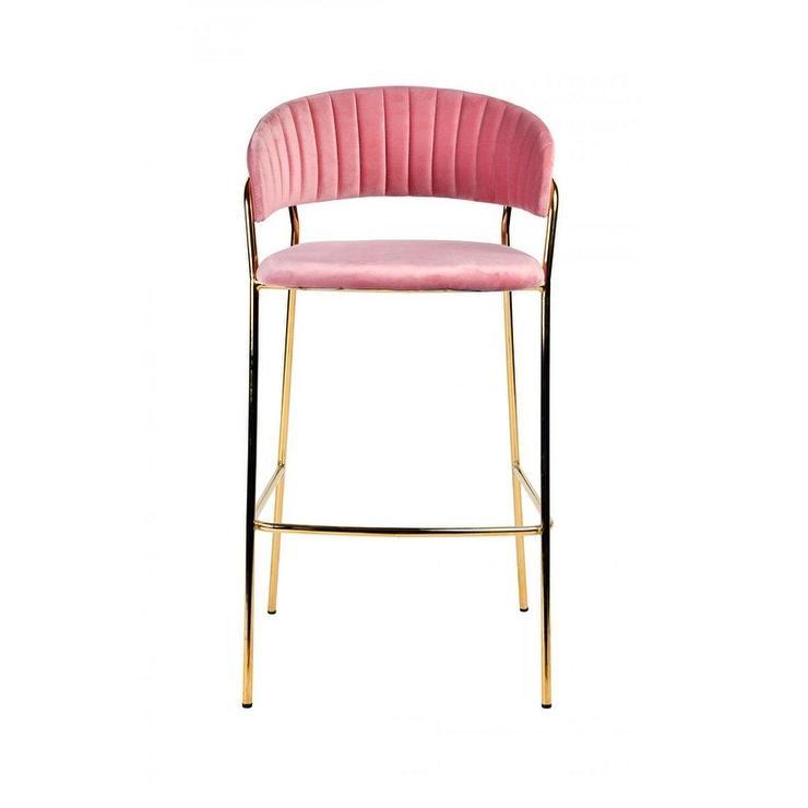 Strange Brandy Curved Pink Velvet Channel Tufted Brass Bar Stool Cjindustries Chair Design For Home Cjindustriesco