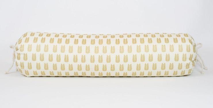 gilded leaf pattern ivory bolster pillow