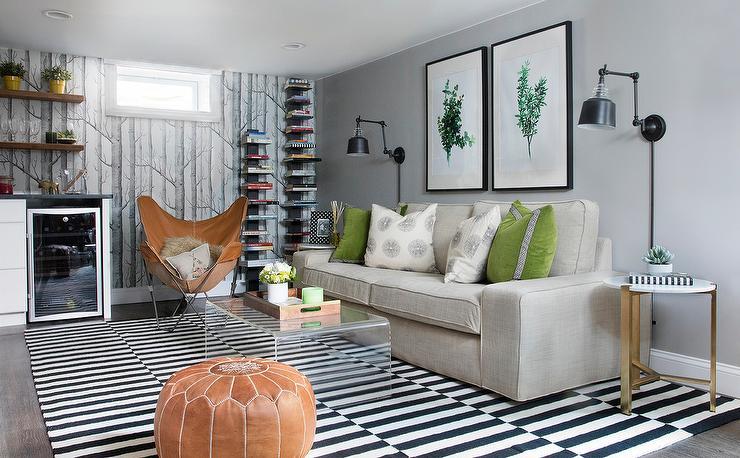 Awe Inspiring Tan Sofa With Green Velvet Pillows Transitional Basement Pabps2019 Chair Design Images Pabps2019Com