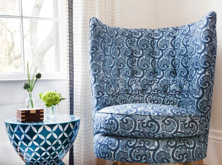 Swell Blue Wingback Tufted Accent Chair With Bone Inlay Accent Gamerscity Chair Design For Home Gamerscityorg