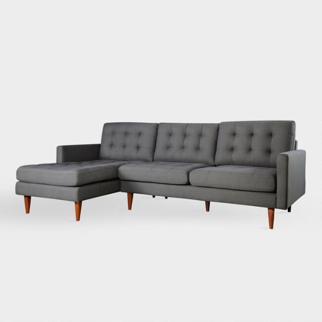 Ennis Tufted Dark Gray Left Facing Sectional Sofa