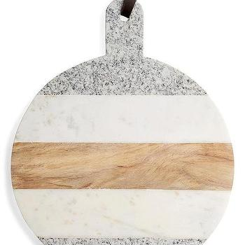 Guitar Pick White Marble Gold Serving Board