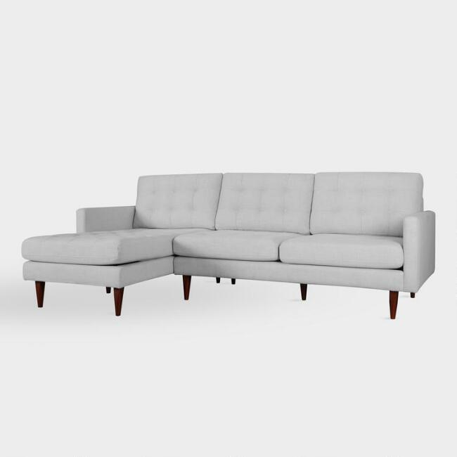 Ennis Tufted Pearl Gray Left Facing Sectional Sofa