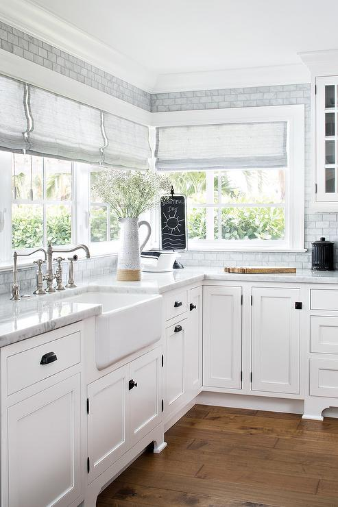 Square Oil Rubbed Bronze Knobs On White Shaker Cabinets