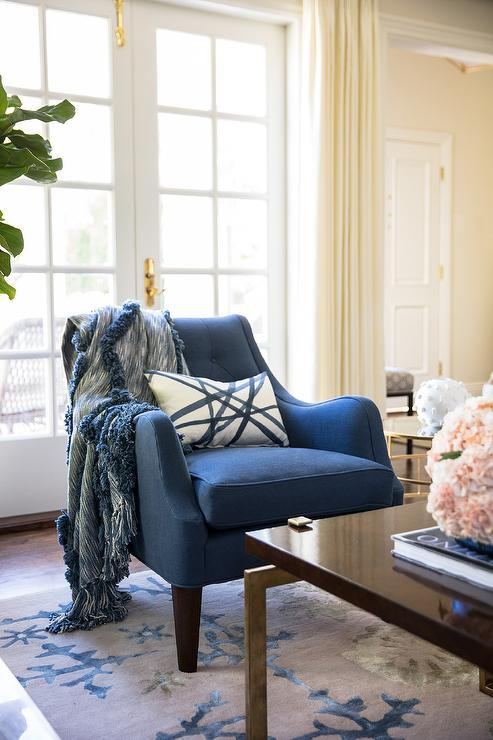 Blue Accent Chair on Blue and Gray Rug - Transitional ...