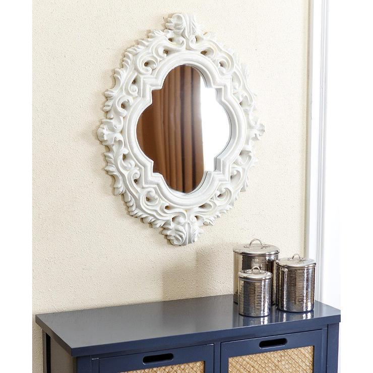 Belvedere White Carved Resin Ornate Wall Mirror