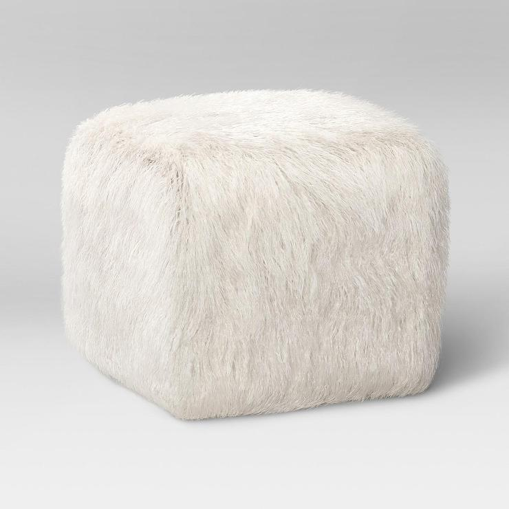 Pink Faux Fur Square Pouf