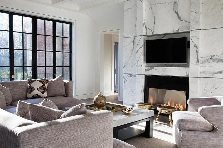 Modern Black Marble Fireplace Mantel Under Tv Niche