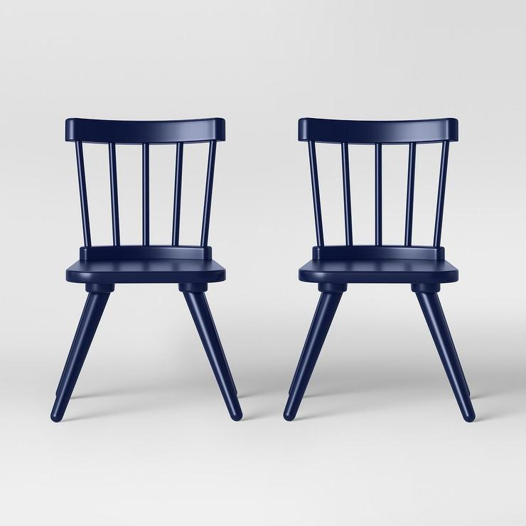 Excellent Windsor Kids Curved Back Navy Wood Chairs Set Bralicious Painted Fabric Chair Ideas Braliciousco