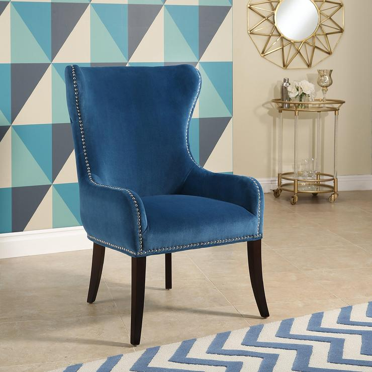 Paulina Blue Tufted Leather Chair