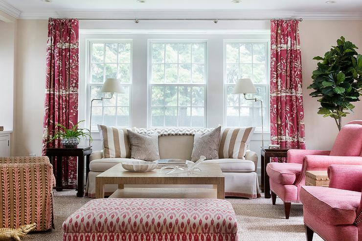 Tan and Red Living Room with Red Toile Curtains ...