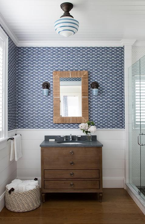 . Washroom with Shiplap Trim and Blue Wallpaper   Cottage   Bathroom