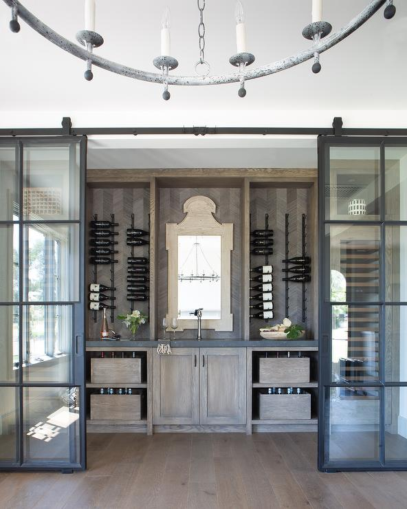 Oak Wine Cellar with Vertical Wine Racks - Transitional ...