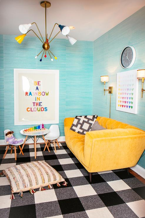 marvellous turquoise yellow living room | Turquoise Sofa - Contemporary - living room - House to Home