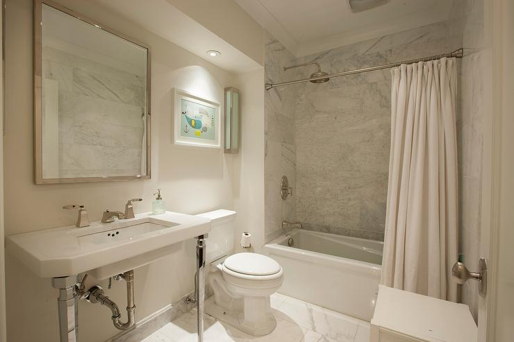 A Modern Living Room, Pedestal Sink With French Chrome Legs Transitional Bathroom