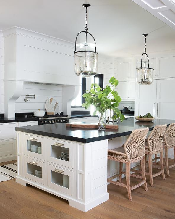 Kitchen Island with Glass Front Drawers - Transitional - Kitchen