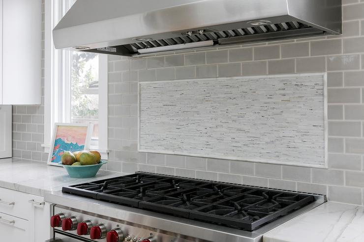 Gray Subway Tiles With White Mosaic Cooktop Accent Tiles Transitional Kitchen,United Checked Baggage Fees Mileageplus