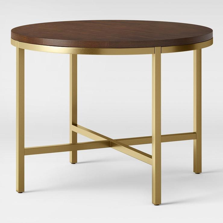 94edc2b6b03bf Antwerp Round Walnut Brass X Base Dining Table