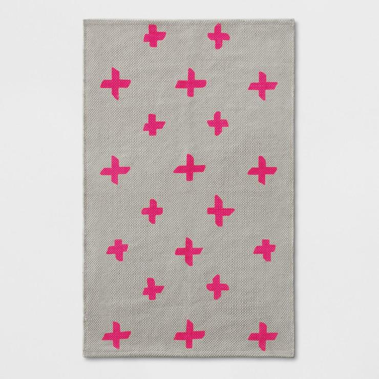 Pink Polka Cross Dots Woven Accent Rug