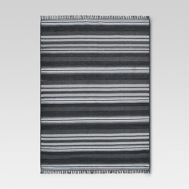 Black Global Stripe Fringed Outdoor Rug
