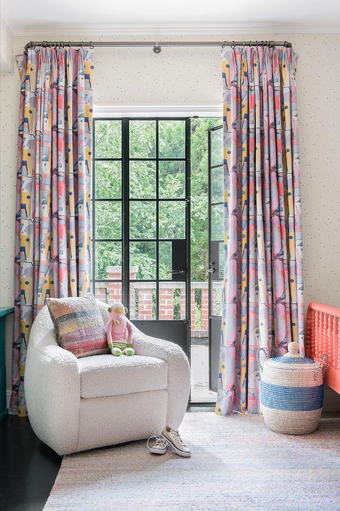 Yellow And Pink Curtains In Toddler Room Transitional Girls Room