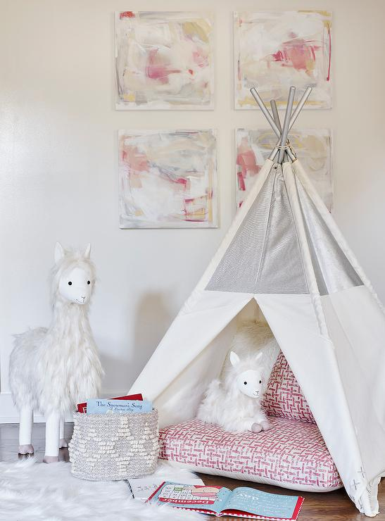 Girls Room With White And Silver Teepee Transitional Girl S Room
