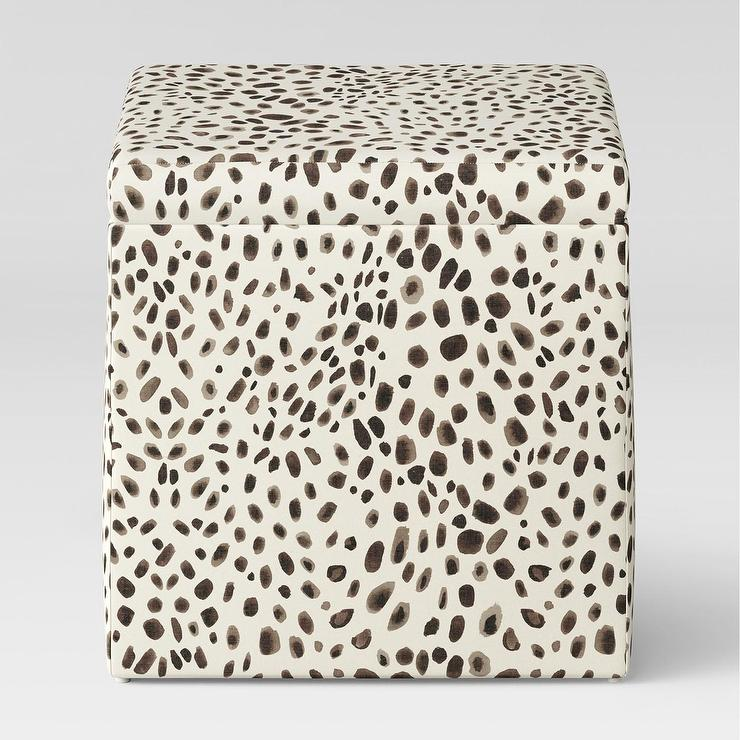 Miraculous Plano Square Cheetah Print Storage Ottoman Alphanode Cool Chair Designs And Ideas Alphanodeonline