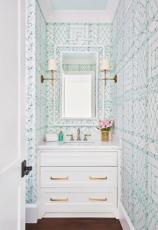 Powder Room With Blue Bamboo Trellis Wallpaper
