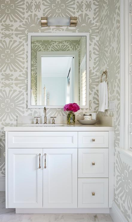 White Powder Room with China Seas Sigourney Wallpaper
