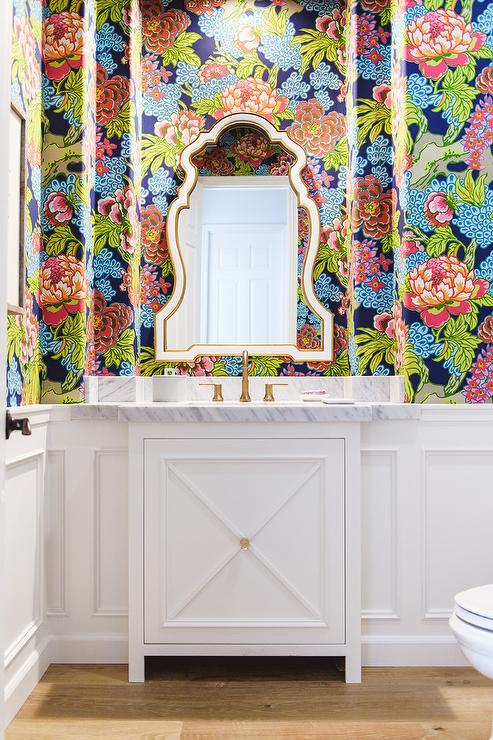 Thibaut Lucas Wallpaper In Powder Room Transitional Bathroom