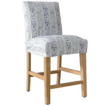 Fitzgerald Upholstered Counter Stool Rustic Yacht Stripe Williams Sonoma