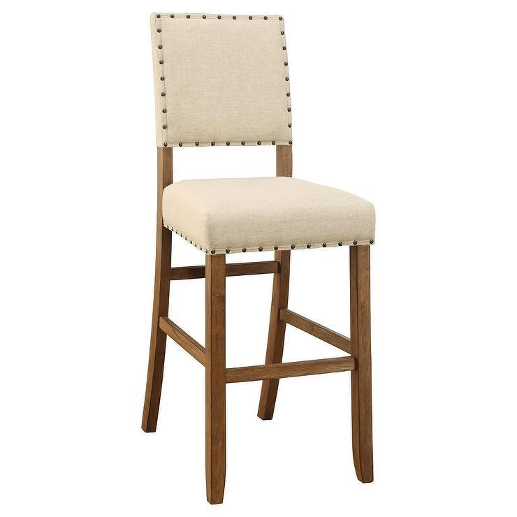 Fantastic Eliza Rustic Beige Linen Nailhead Bar Height Chair Camellatalisay Diy Chair Ideas Camellatalisaycom