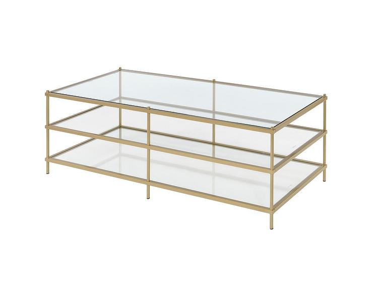58113bd13d3bcf Simplicity Gold 3 Tier Glass Coffee Table