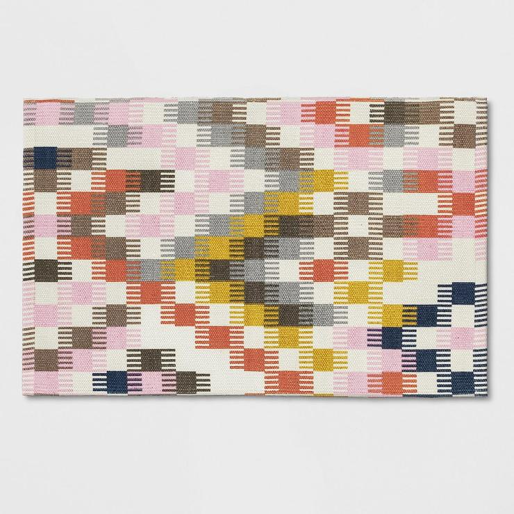 Opalhouse Pink Brown Check Woven Accent Rug
