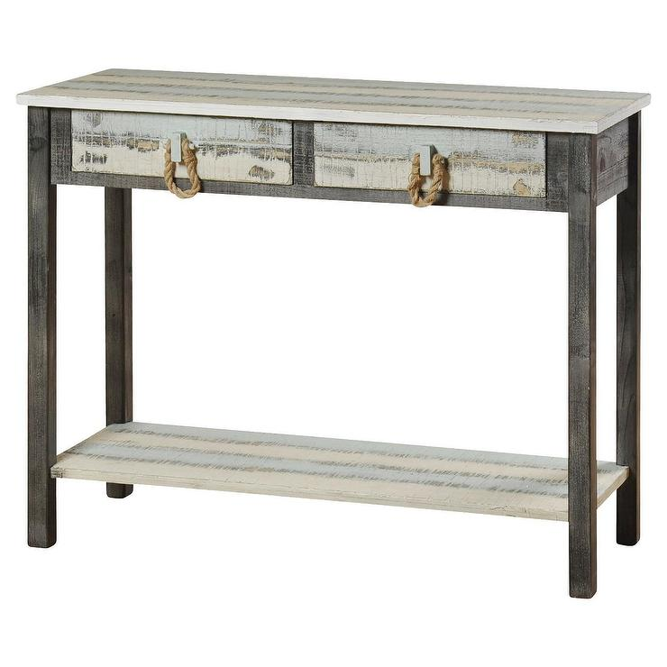 Nantucket Whitewashed Rope Pulls Wood Console Table - Nautical Sofa Table