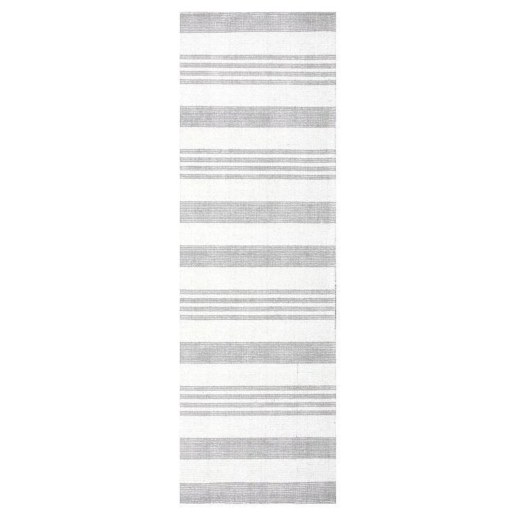 Earleen Gray White Striped Hand Loomed Runner Rug