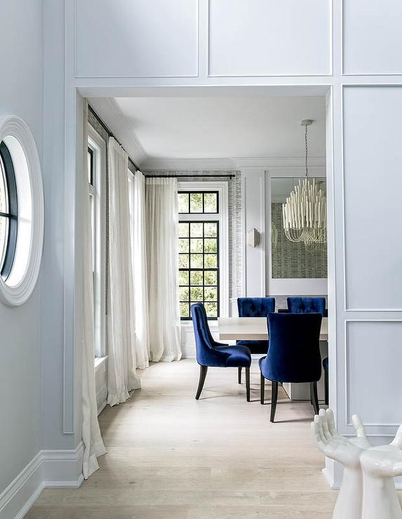 accent chairs for dining room clarity photographs | Blue Tufted Accent Chairs with White Brick Fireplace ...