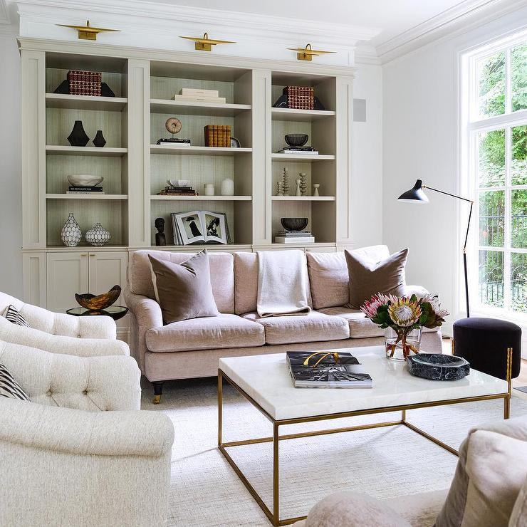 Blush Pink Velvet Sofa With Brass And Marble Coffee Table
